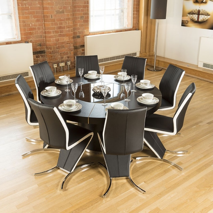 Modern Large Round Black Oak Dining Table + 8 High Back/white Z With Regard To Well Known Dining Tables For  (View 12 of 25)