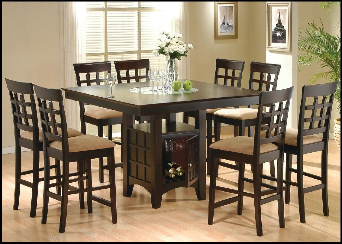 Modern Pub Style Dining Room Sets With Dark Brown 8 Chairs With Pertaining To Most Current 8 Chairs Dining Sets (View 6 of 25)