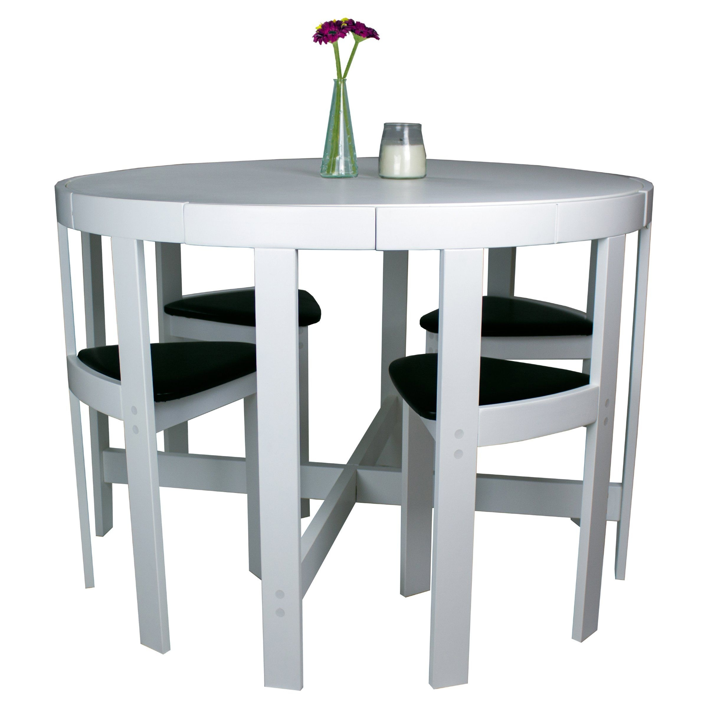 Modern Round 5 Piece Space Saving Dinette Set – White – Dining Table For 2017 Lassen 7 Piece Extension Rectangle Dining Sets (View 13 of 25)