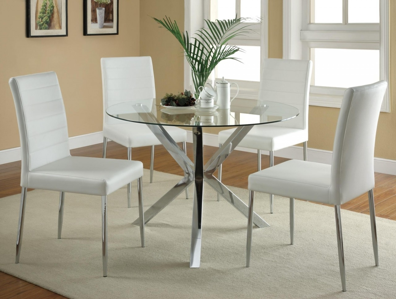 Modern Round Glass Dining Table With Chrome Polished Metal Leg As Pertaining To Well Known White Leather Dining Room Chairs (View 15 of 25)