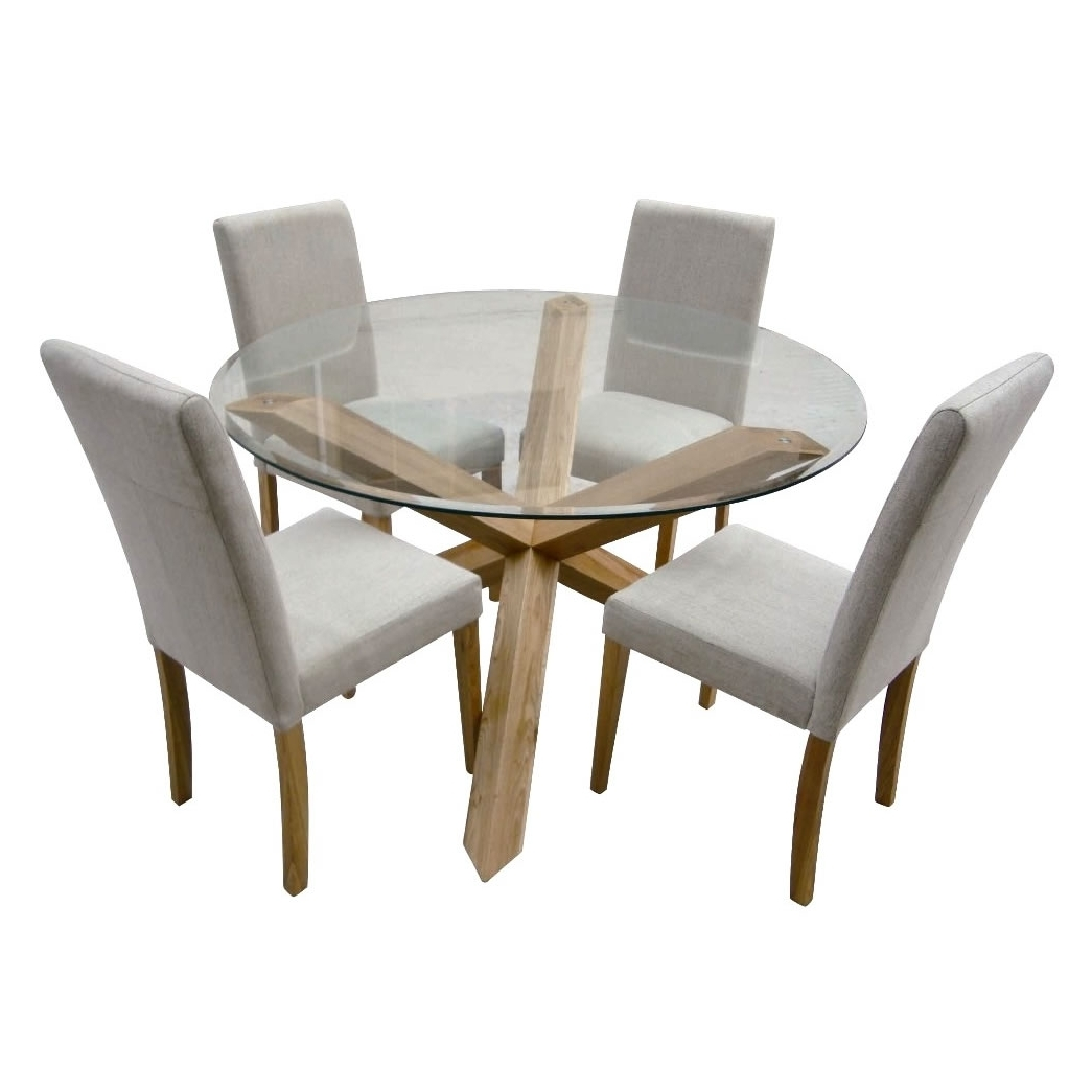 Modern Round Glass Top Dining Table With Steel Legs Combined With Pertaining To Widely Used Oak Glass Top Dining Tables (View 10 of 25)