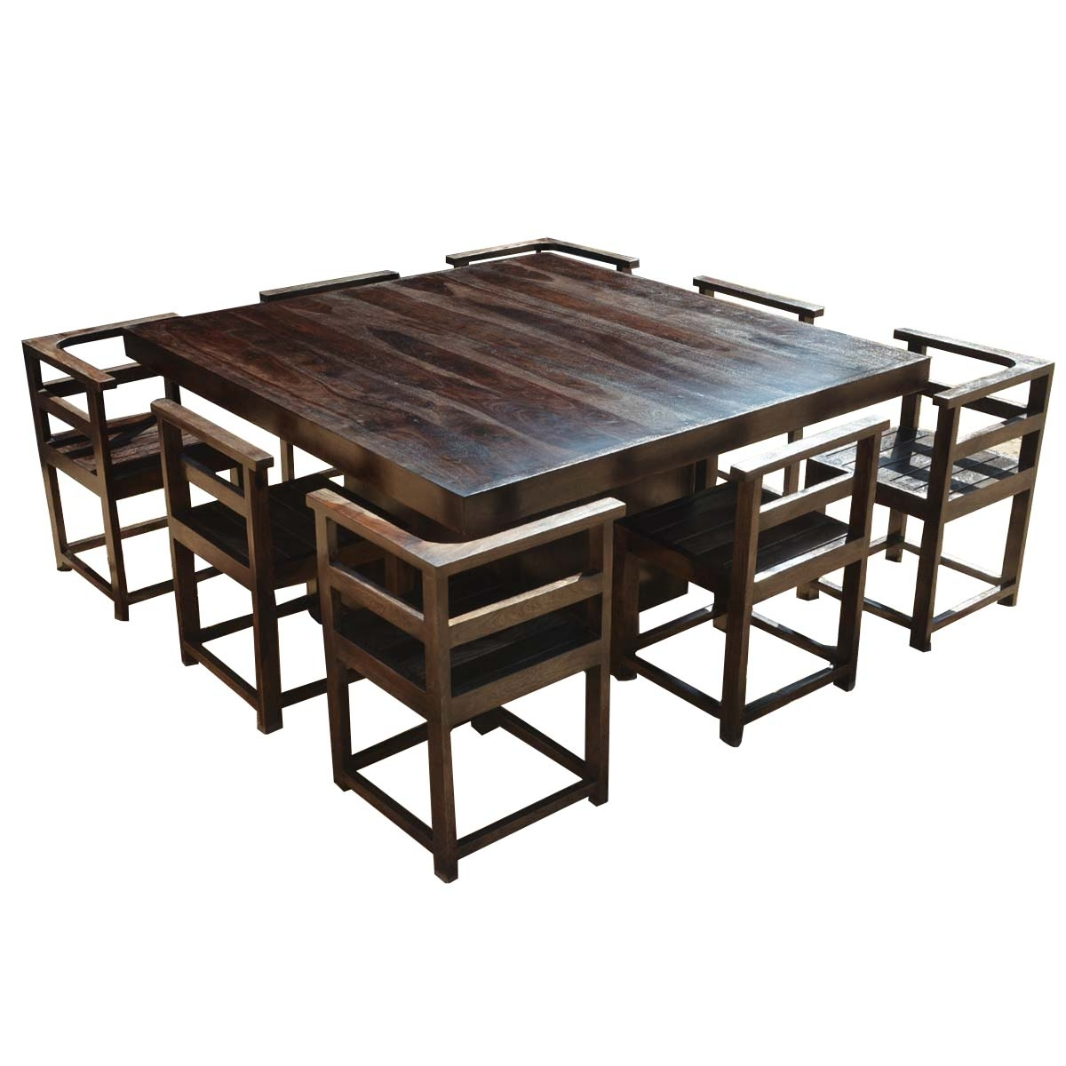 "Modern Rustic Solid Wood 64"" Square Pedestal Dining Table & 8 Chairs With Well Known Dining Tables And 8 Chairs (View 25 of 25)"