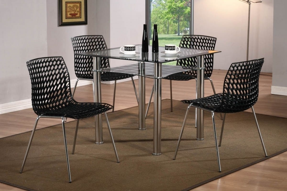 Modern Small Square Glass Dining Table And 4 Chairs – Homegenies Intended For Most Up To Date Square Black Glass Dining Tables (View 7 of 25)