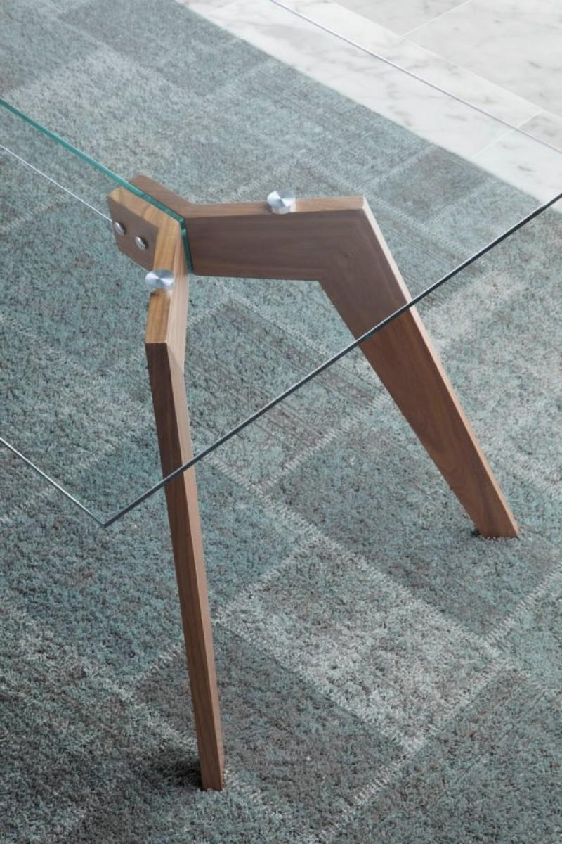 Modern Vienna Glass Top Dining Table, Walnut Legs/3 Sizes/rectangle Throughout Trendy Vienna Dining Tables (View 10 of 25)