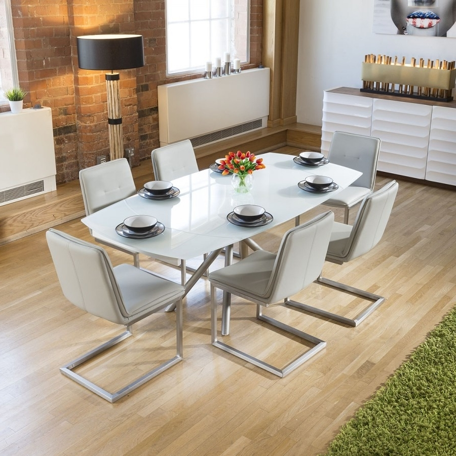 Modern White Glass Extending Dining Table Set + 6 Ice Grey Chairs Within Current Extending Dining Table Sets (View 19 of 25)