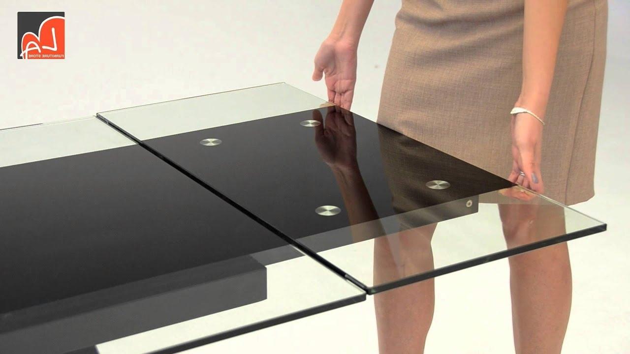 Modrest Barium Contemporary Black Glass Extendable Dining Table Regarding Recent Extending Glass Dining Tables (View 18 of 25)