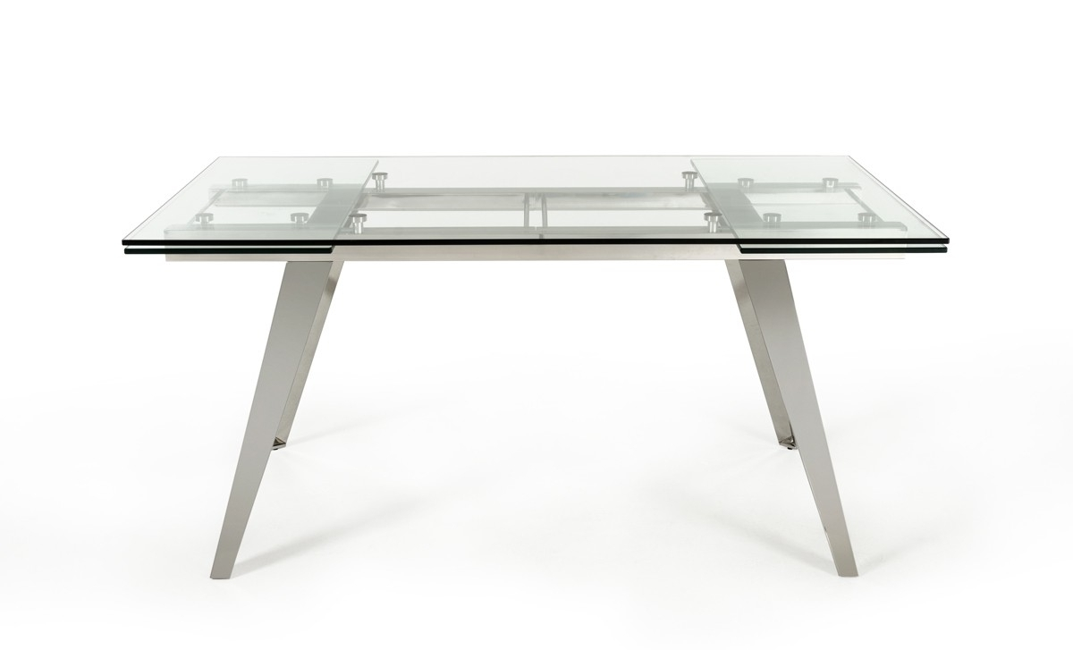 Modrest Barium Modern Extendable Glass Dining Table With Popular Glass Folding Dining Tables (View 19 of 25)