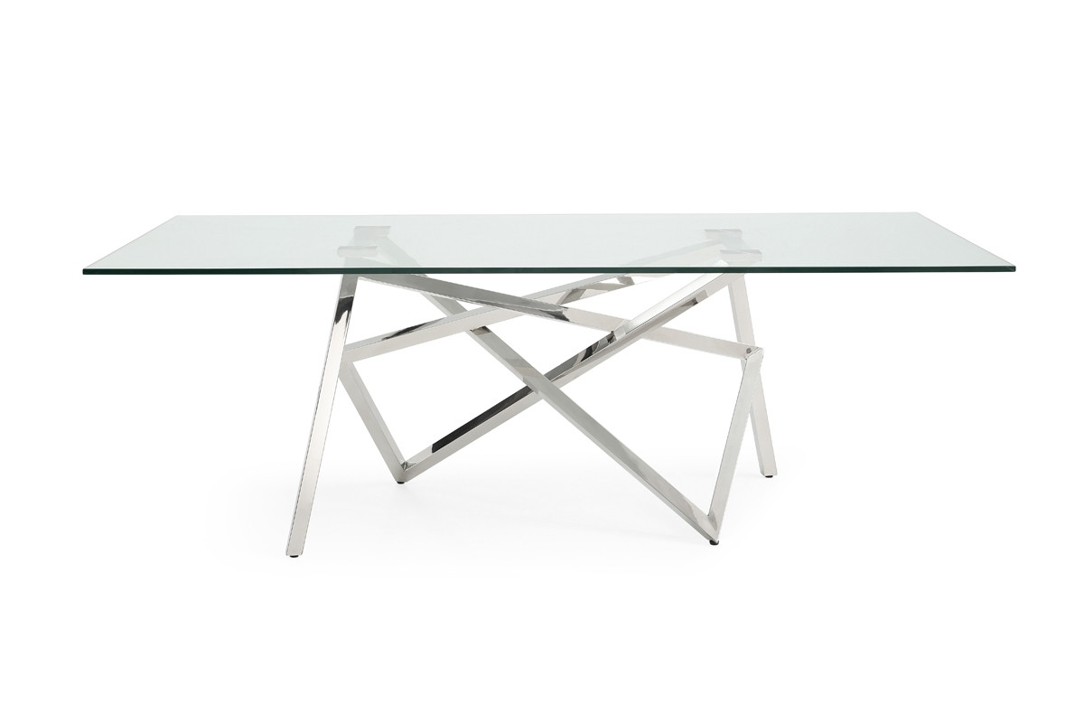 Modrest Hawkins Modern Glass & Stainless Steel Dining Table With Regard To Preferred Glass And Stainless Steel Dining Tables (View 18 of 25)