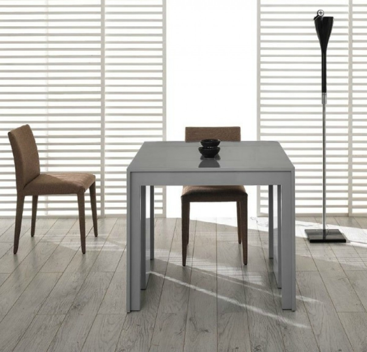 Modrest Morph – Modern Ultra Compact Extendable Grey Gloss Dining Table With Most Recently Released Grey Gloss Dining Tables (View 9 of 25)
