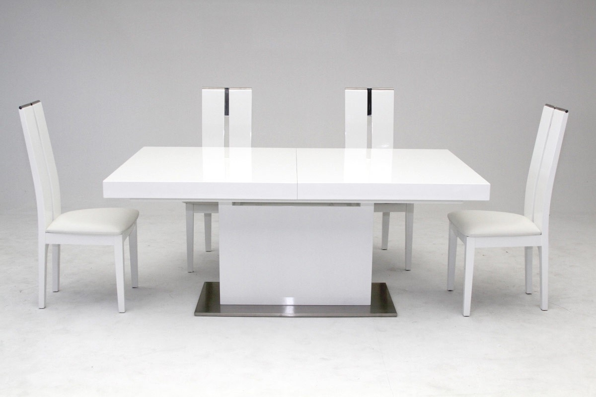Modrest Zenith – Modern White Extendable Dining Table – Venini Furniture In Newest White Extending Dining Tables (View 13 of 25)
