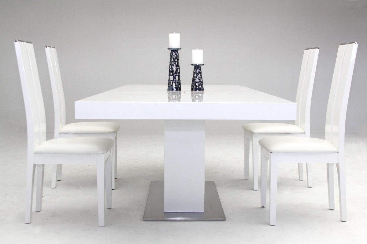 Modrest Zenith – Modern White Extendable Dining Table – Venini Furniture With Well Known White Extendable Dining Tables (View 9 of 25)