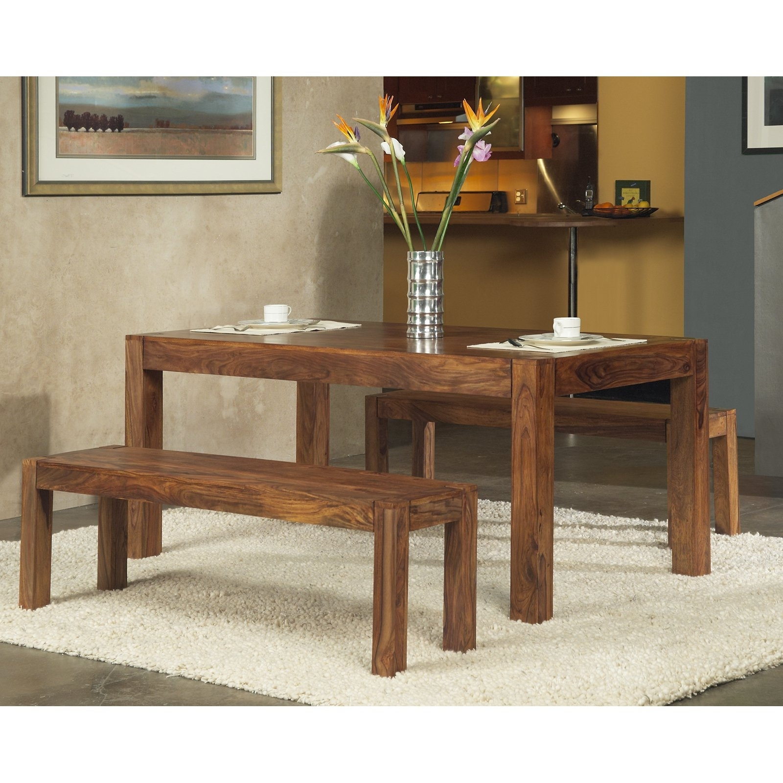 Modus Genus 3 Piece Dining Table Set With 2 Benches – Walmart In Well Known Dining Tables And 2 Benches (View 15 of 25)