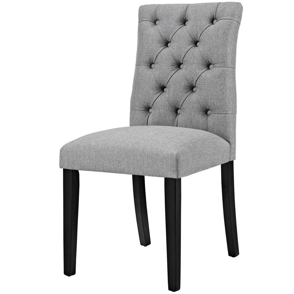 Modway Duchess Light Gray Fabric Dining Chair Pertaining To Favorite Fabric Dining Chairs (View 14 of 25)