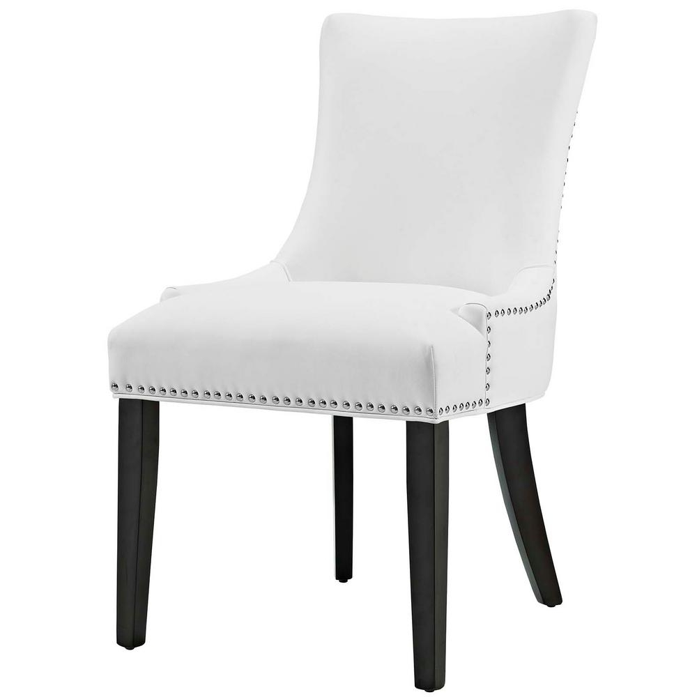 Modway Marquis White Faux Leather Dining Chair Eei 2228 Whi – The Regarding Popular White Dining Chairs (Gallery 10 of 25)