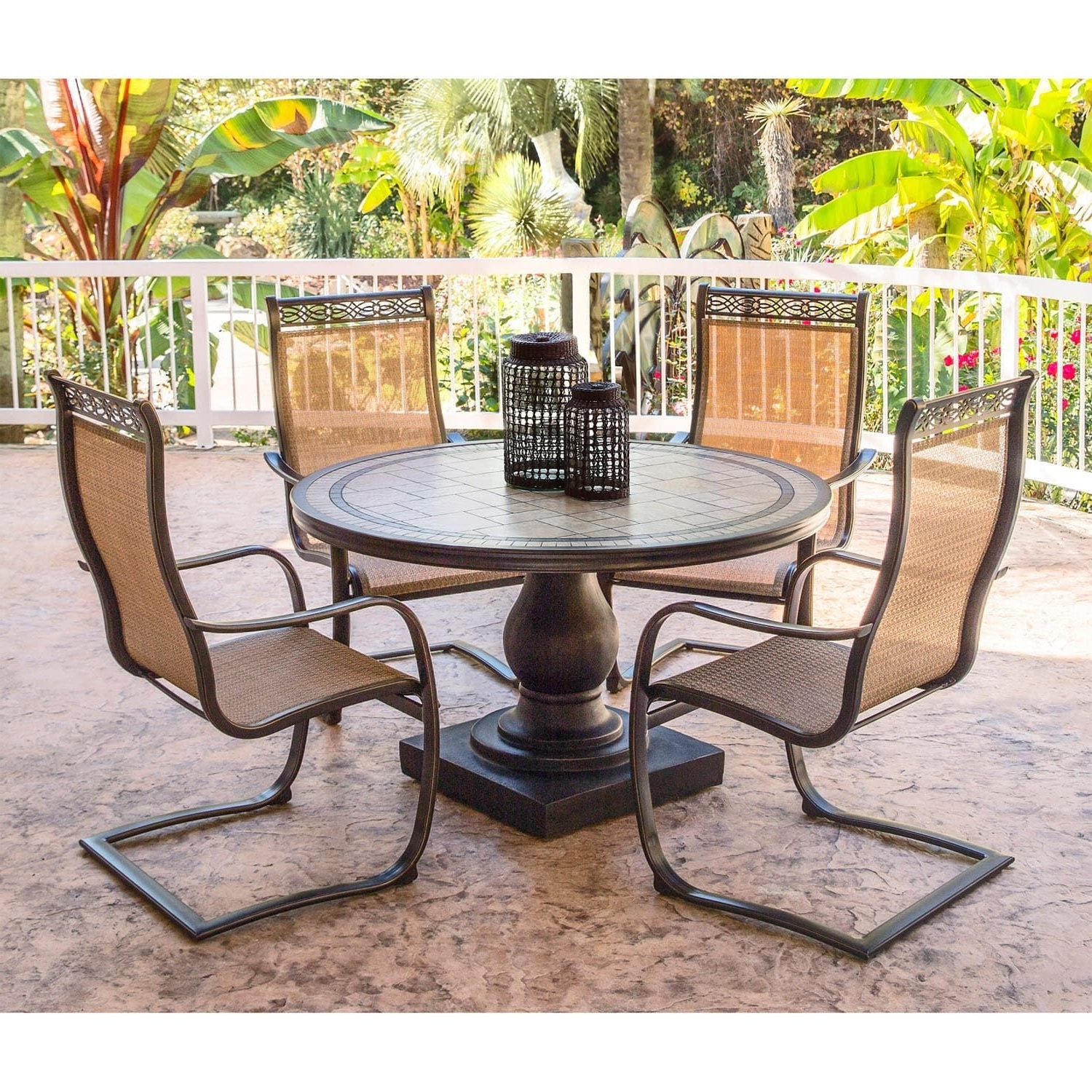Monaco Dining Sets Inside Popular Hanover Monaco Golden Bronze Aluminum 5 Piece Outdoor Dining Set (View 8 of 25)