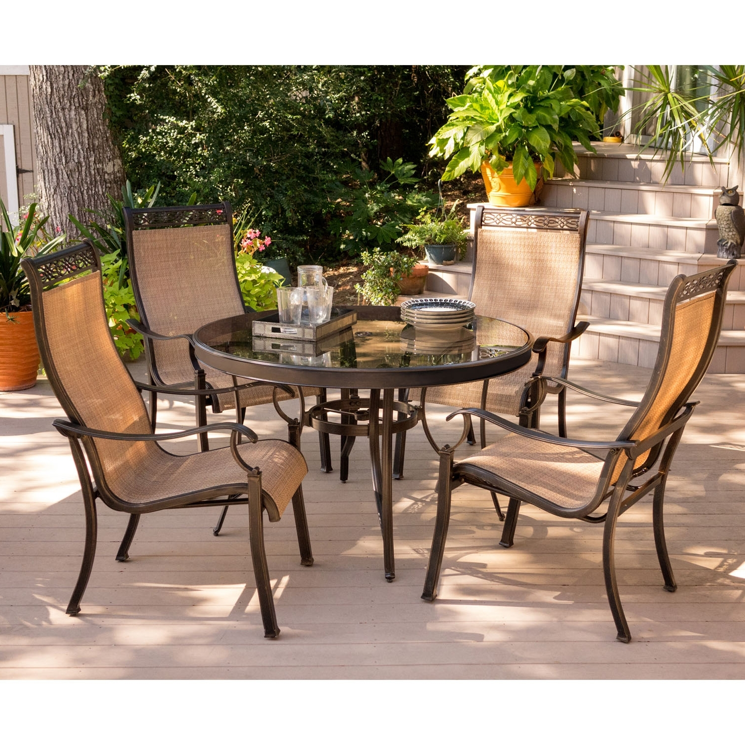 Monaco Dining Sets With Regard To Widely Used Hanover Monaco 5 Piece Dining Set, Mondn5Pcg (View 13 of 25)