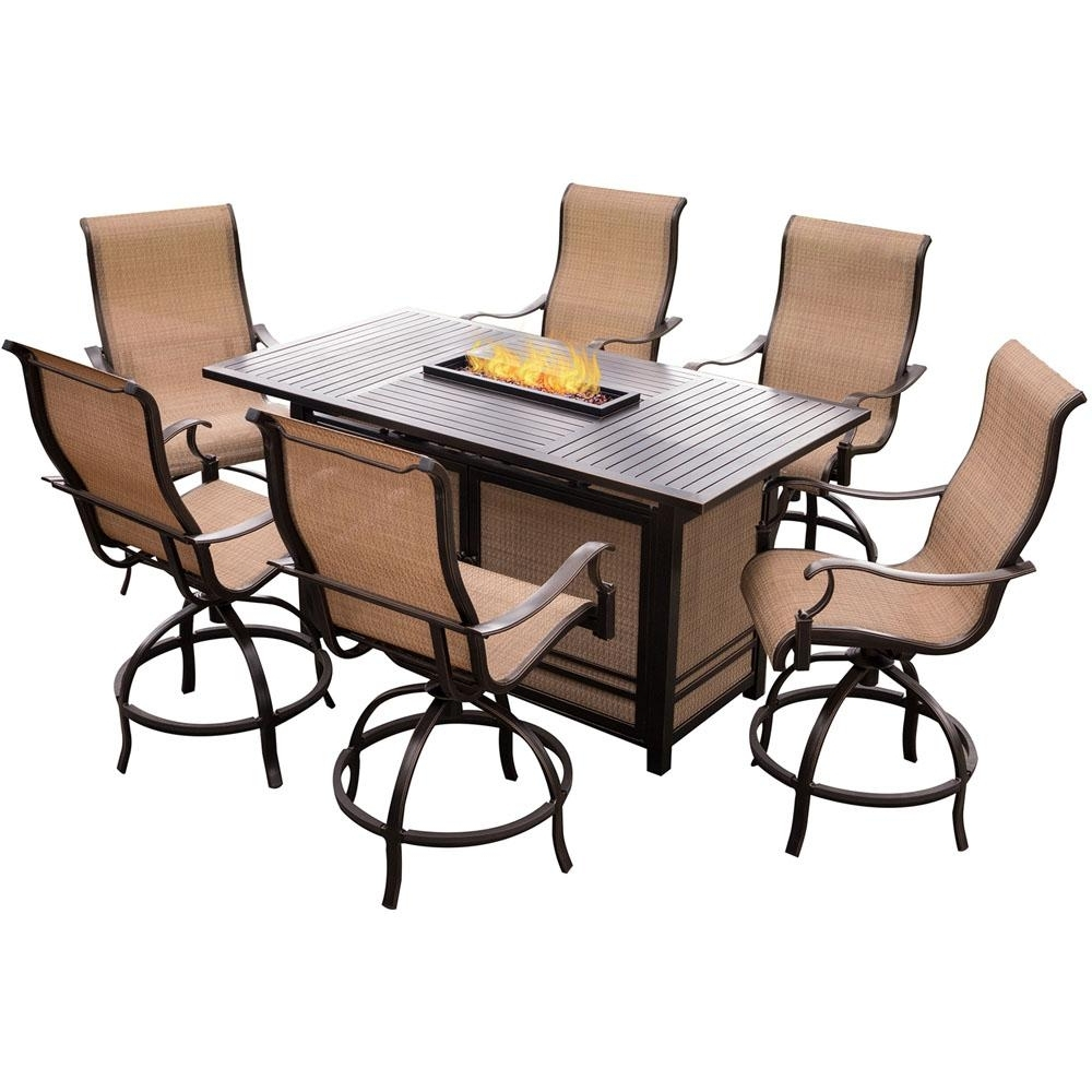 Monaco Dining Sets With Trendy Hanover Monaco 7 Piece Aluminum Outdoor High Dining Set With (View 14 of 25)