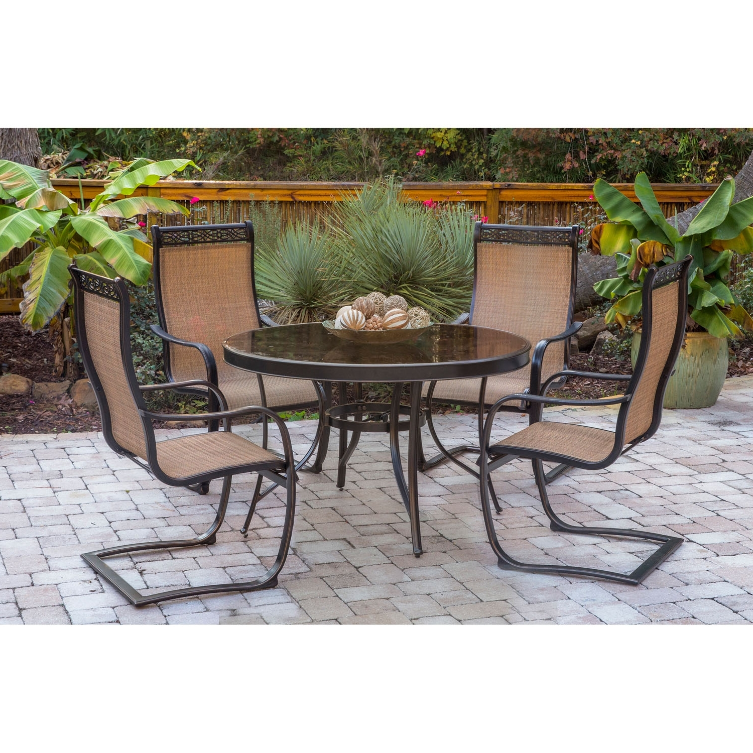 Monaco Dining Tables With Current Monaco 5 Piece Outdoor Dining Set With C Spring Chairs And Glass Top (View 15 of 25)