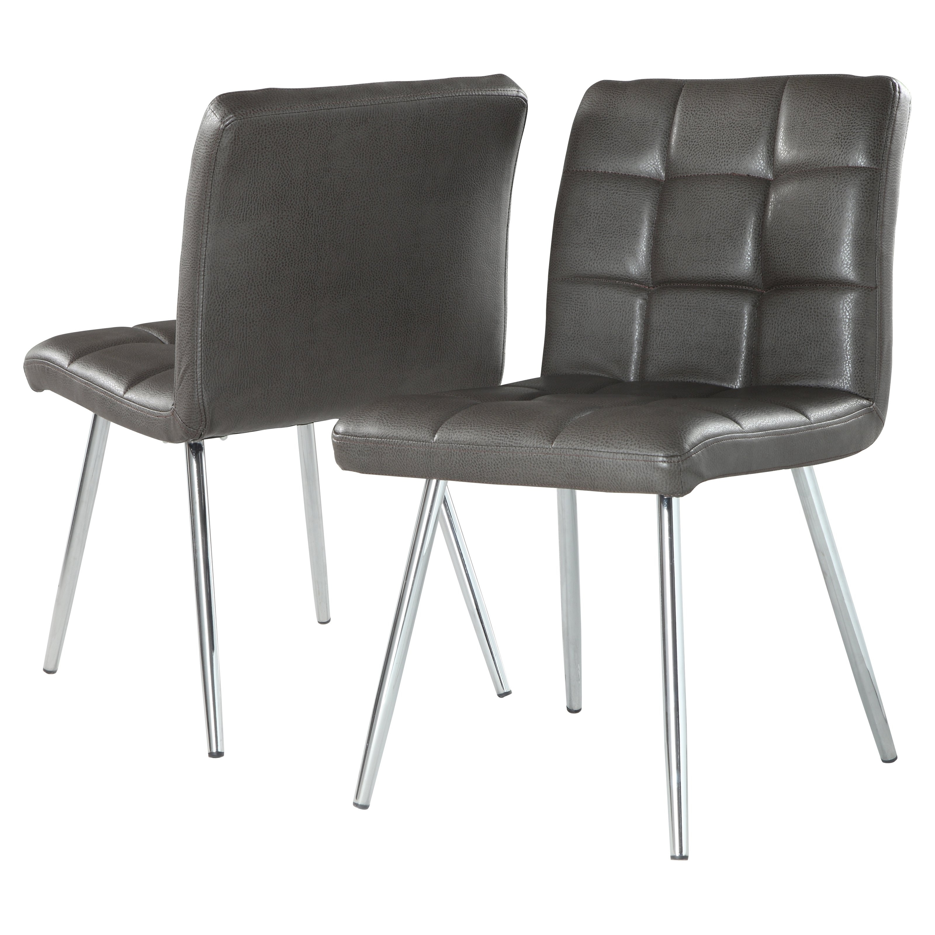 "Monarch Dining Chair 2Pcs / 32""h / Grey Leatherlook / Chrome Within Best And Newest Chrome Dining Chairs (Gallery 1 of 25)"