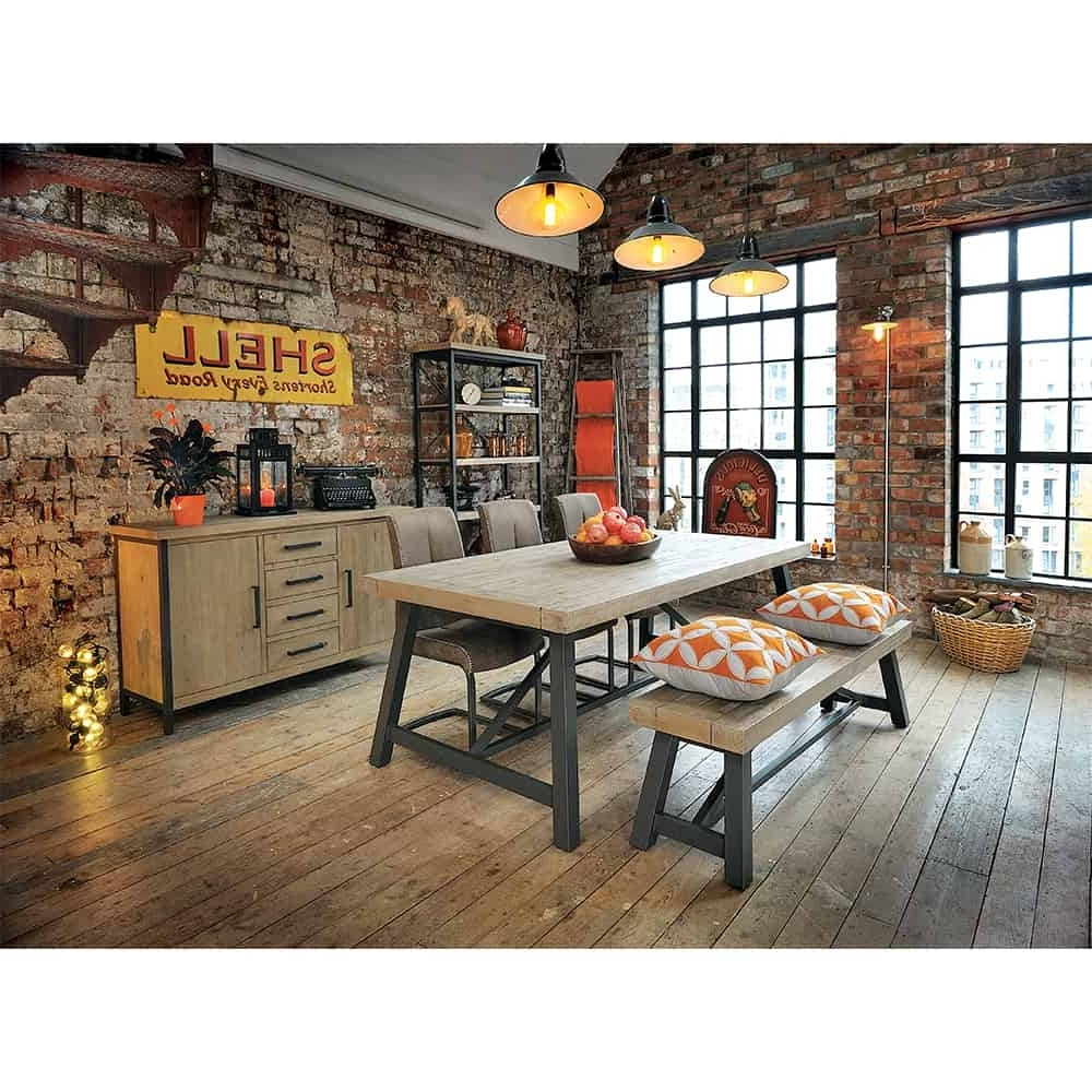 Mosaic Dining Tables For Sale Regarding 2018 Lowry Industrial Rustic Chic Dining Table With Chairs And Bench (View 12 of 25)