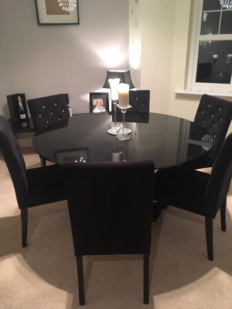 Most Current 6 Seater Black Glass Dining Table And 6 Next Black Velvet Rhinestone In Black Glass Dining Tables (View 11 of 25)