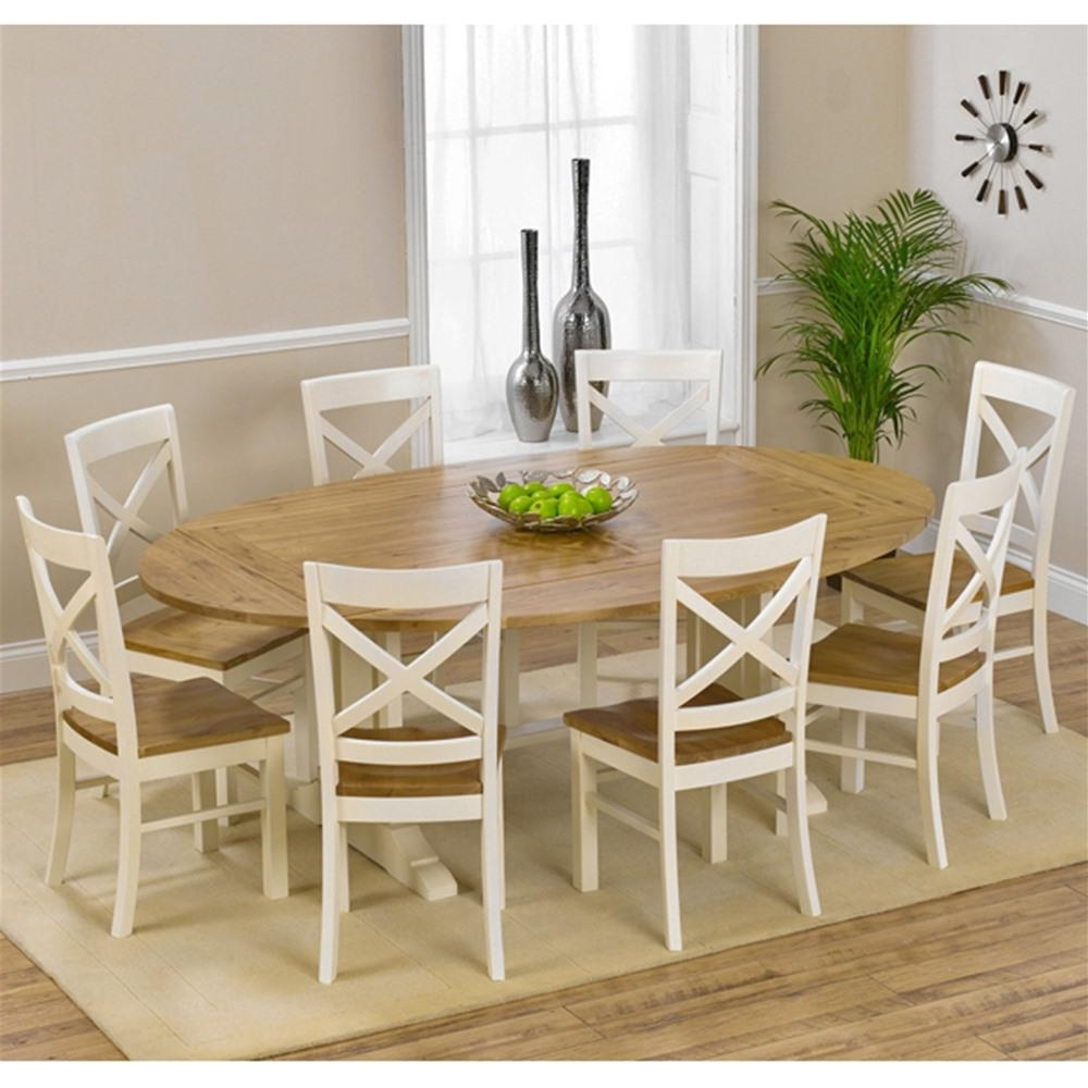 Most Current 8 Seater Oak Dining Tables With Mark Harris Oak & Cream Extending 8 Seater Dining Set (View 16 of 25)