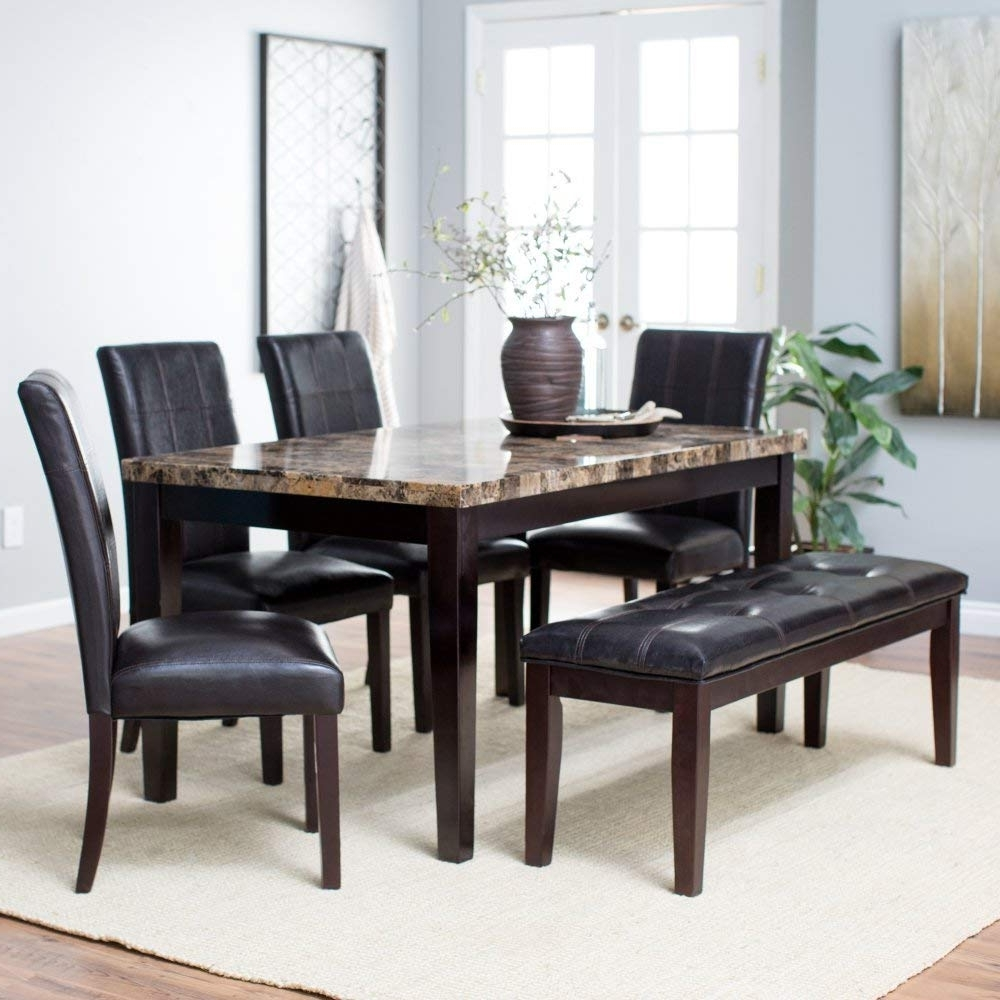 Most Current Amazon: Finley Home Palazzo 6 Piece Dining Set With Bench In Palazzo 3 Piece Dining Table Sets (View 3 of 25)