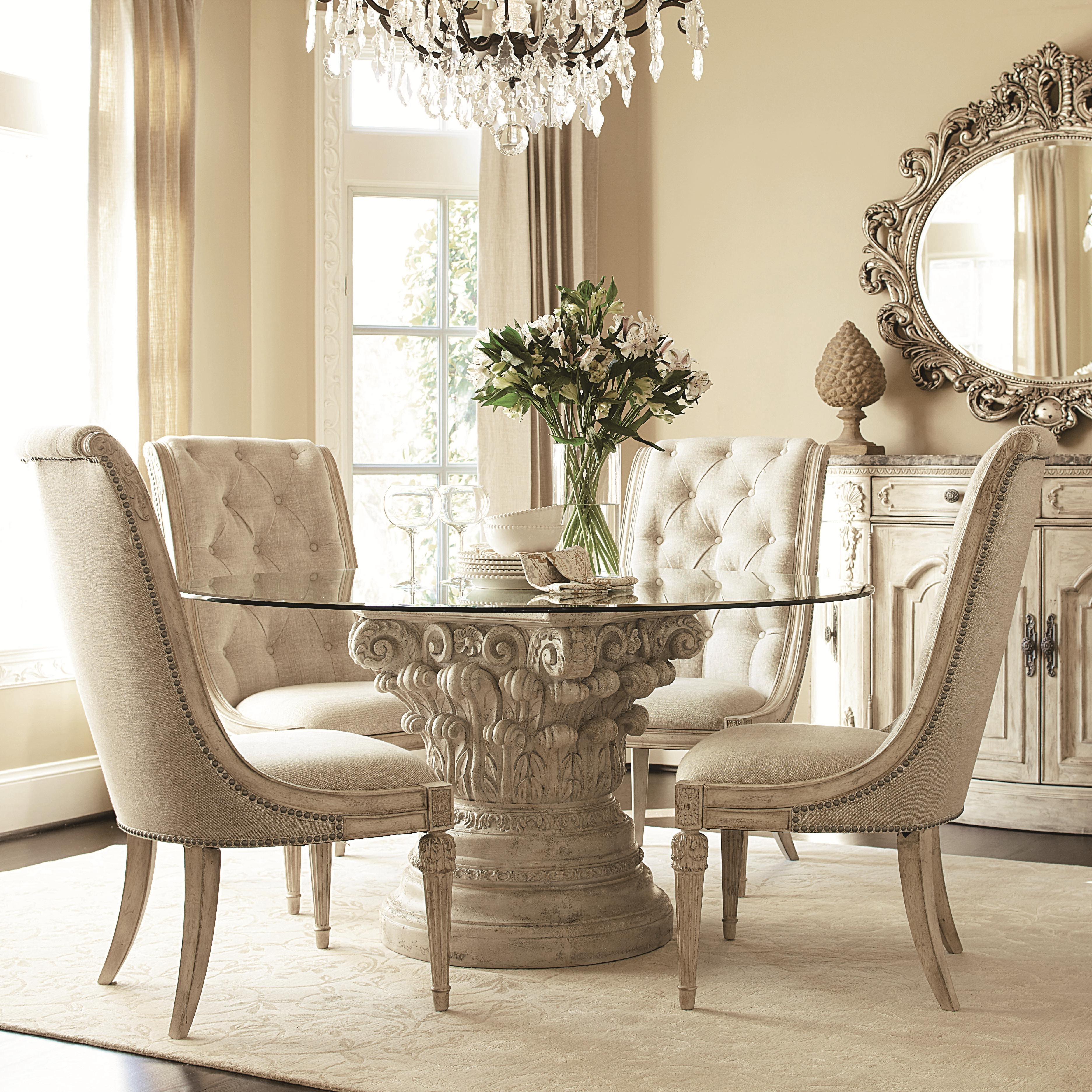 Most Current American Drew Jessica Mcclintock Home – The Boutique Collection 5 Pertaining To Caira Black 5 Piece Round Dining Sets With Diamond Back Side Chairs (View 10 of 25)