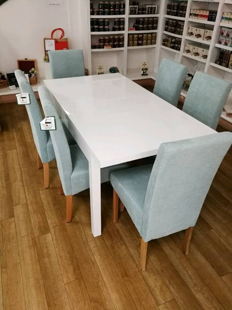 Most Current Beautiful White High Gloss Extendable Dining Table And 6 Duck Egg Within White High Gloss Dining Tables 6 Chairs (View 13 of 25)