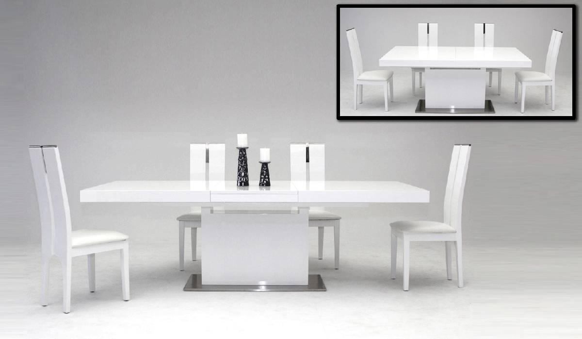 Most Current Black Extendable Dining Tables And Chairs Intended For Vig Zenith White Extendable Dining Table Dallas Tx (View 17 of 25)