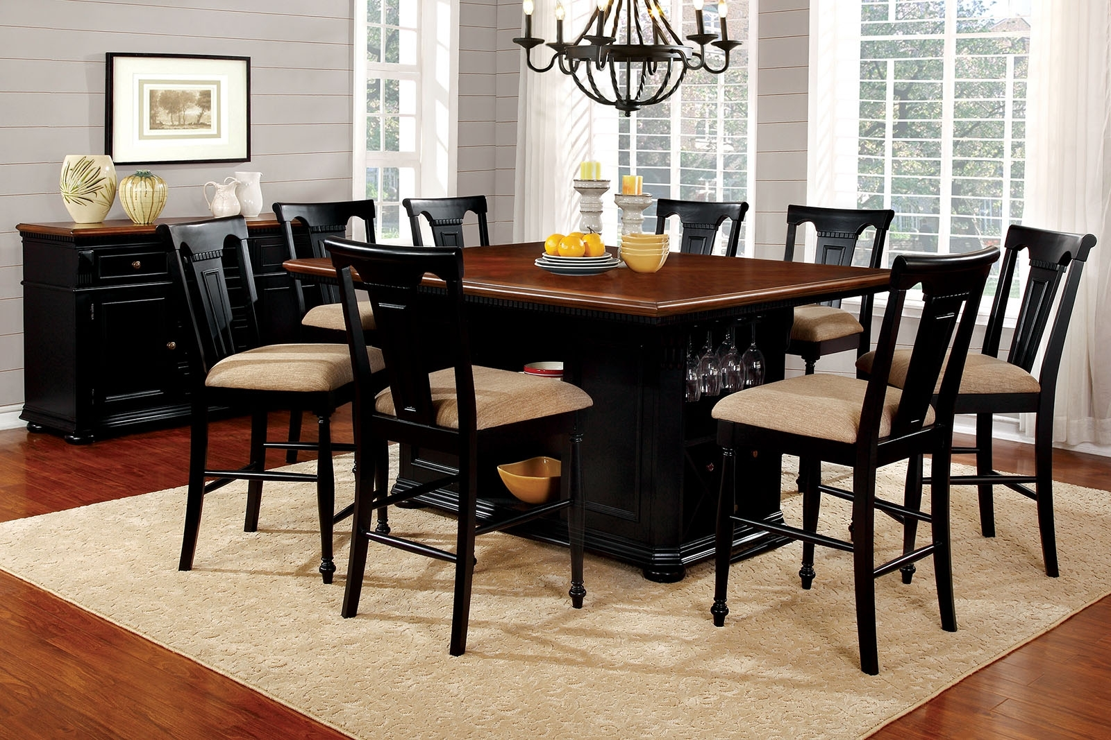 Most Current Black Wood Dining Tables Sets For Sabrina Country Style 9Pc Cherry & Black Finish Counter Height (View 16 of 25)