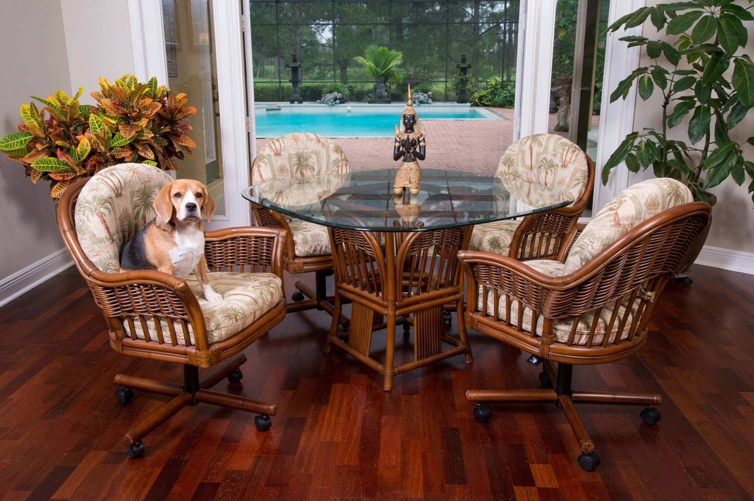 Most Current Bridgeport Bri011 Rattan Caster Dining Set And Bar Stools From Throughout Rattan Dining Tables And Chairs (View 11 of 25)