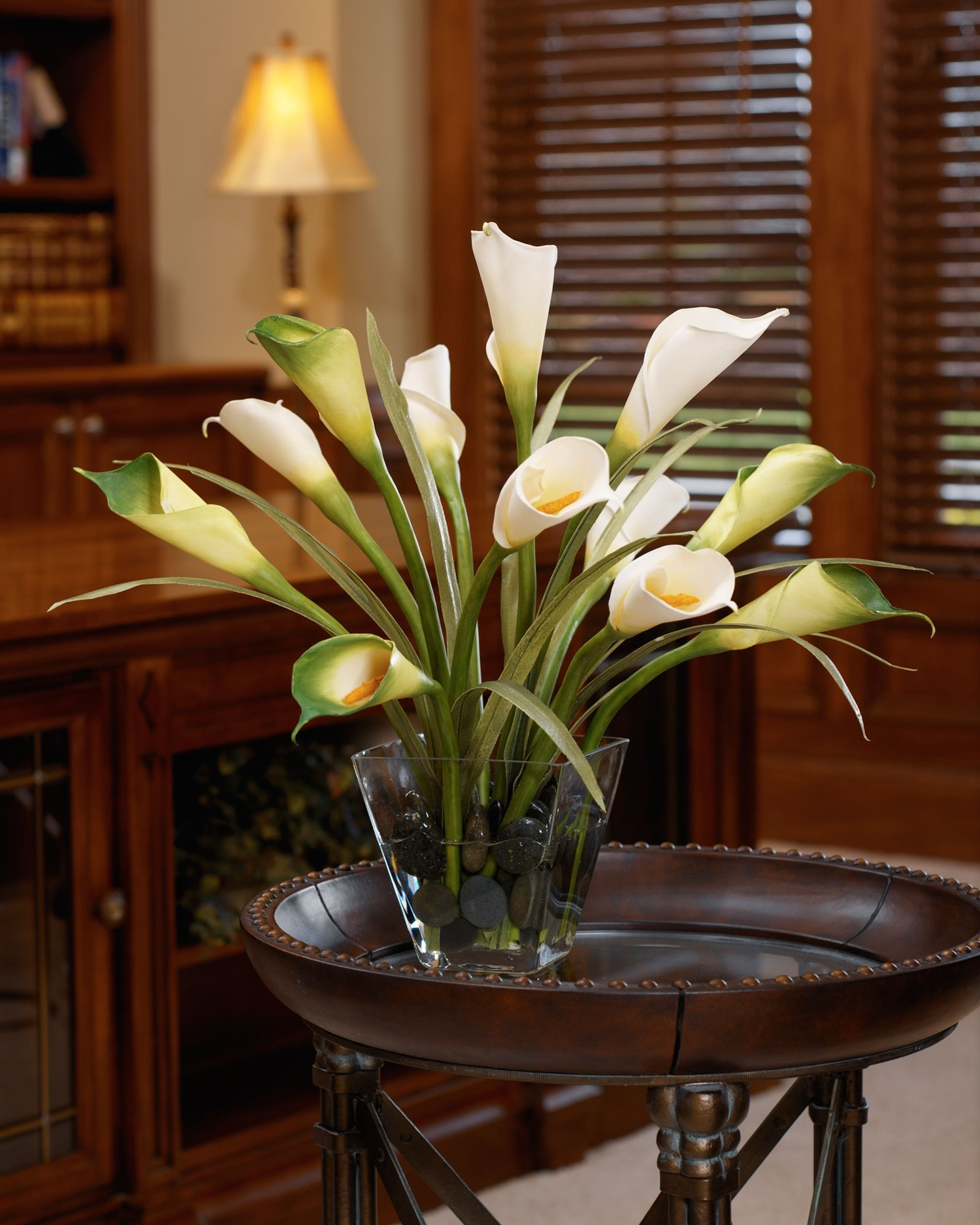 Most Current Buy Calla Lily & Foliage Silk Flower Centerpiece At Petals In Artificial Floral Arrangements For Dining Tables (View 9 of 25)