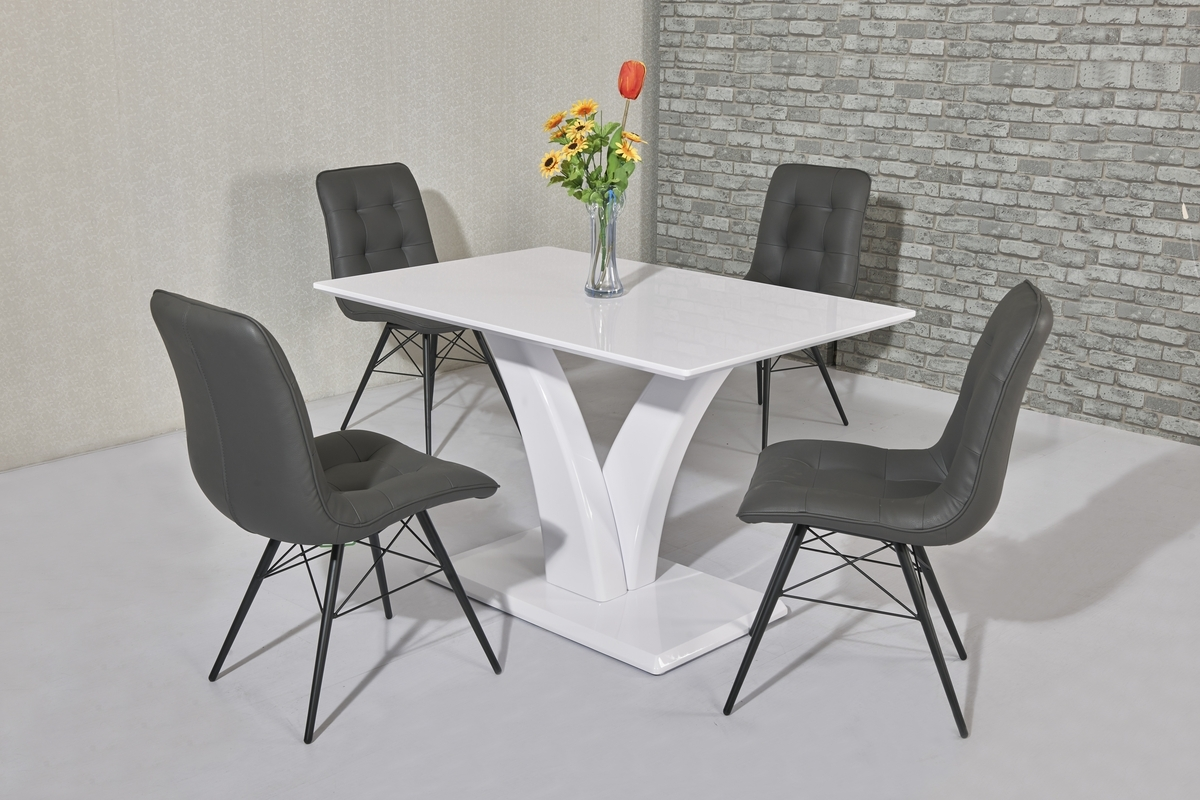 Most Current Cheap White High Gloss Dining Tables For Details About White High Gloss Dining Table And 4 Grey Padded Chairs (View 6 of 25)