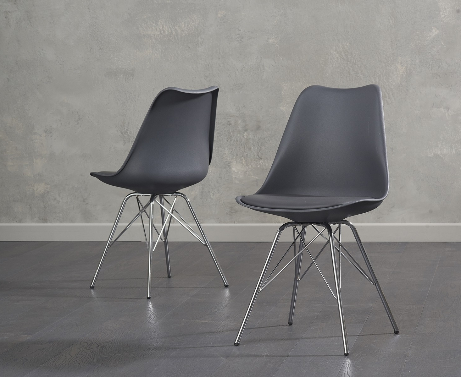 Most Current Chrome Dining Chairs For Buy Mark Harris Calabasus Dark Grey Faux Leather Dining Chair Chrome (Gallery 16 of 25)