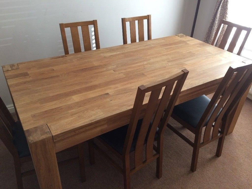 Most Current Chunky Solid Oak Dining Tables And 6 Chairs Intended For Solid Oak Chunky Heavyweight Dining Table, 180Cm X 90Cm Plus  (View 24 of 25)