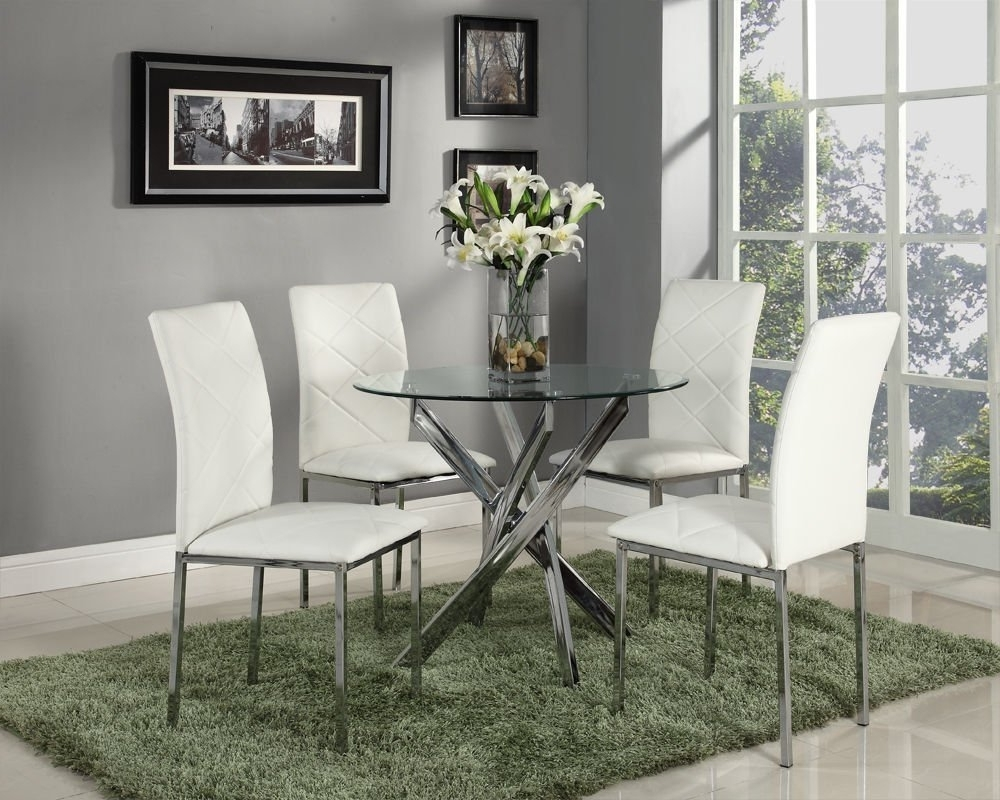 Most Current Circular Glass Dining Table And 4 Chairs – Onlinemedguide With Regard To Round Black Glass Dining Tables And 4 Chairs (View 13 of 25)