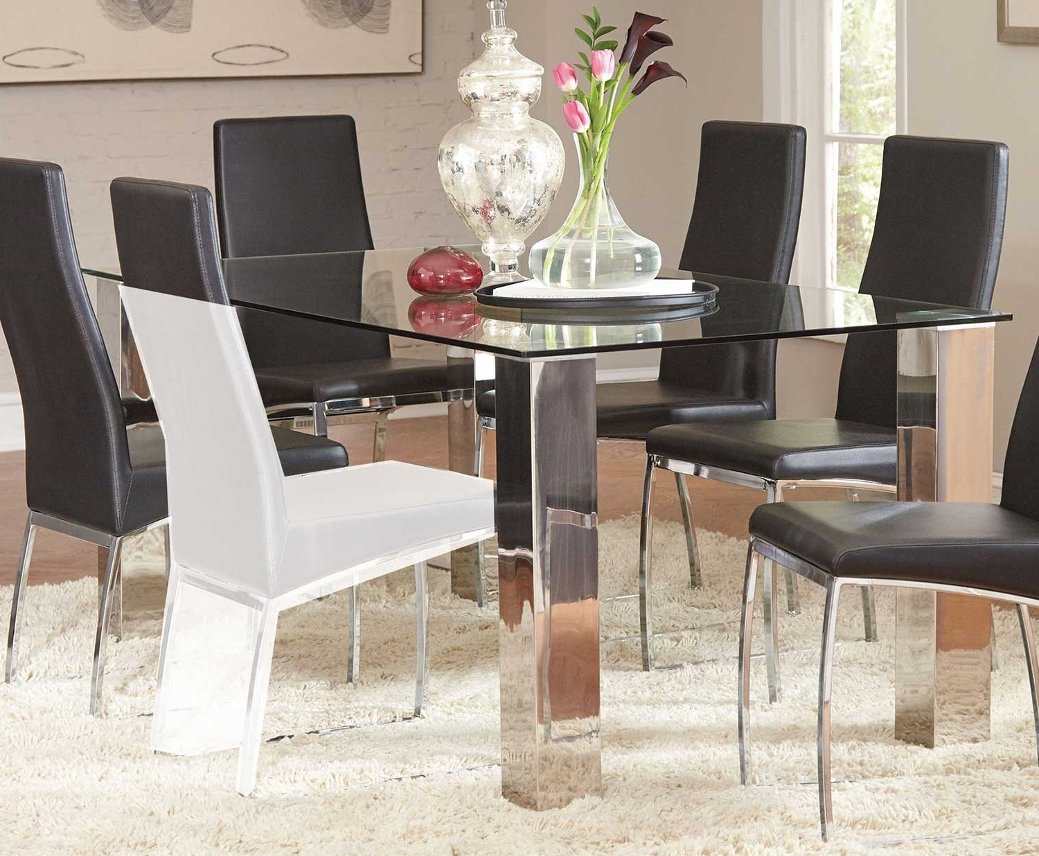 Most Current Coaster Bellini Rectangular Glass Dining Table – Stainless Steel Intended For Glass And Stainless Steel Dining Tables (View 3 of 25)