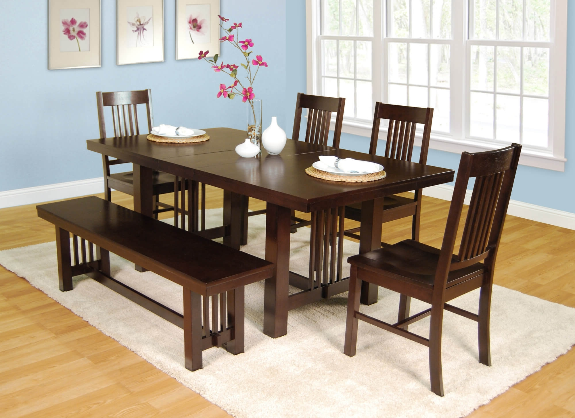 Most Current Craftsman 5 Piece Round Dining Sets With Side Chairs Throughout 26 Dining Room Sets (Big And Small) With Bench Seating (2018) (View 24 of 25)