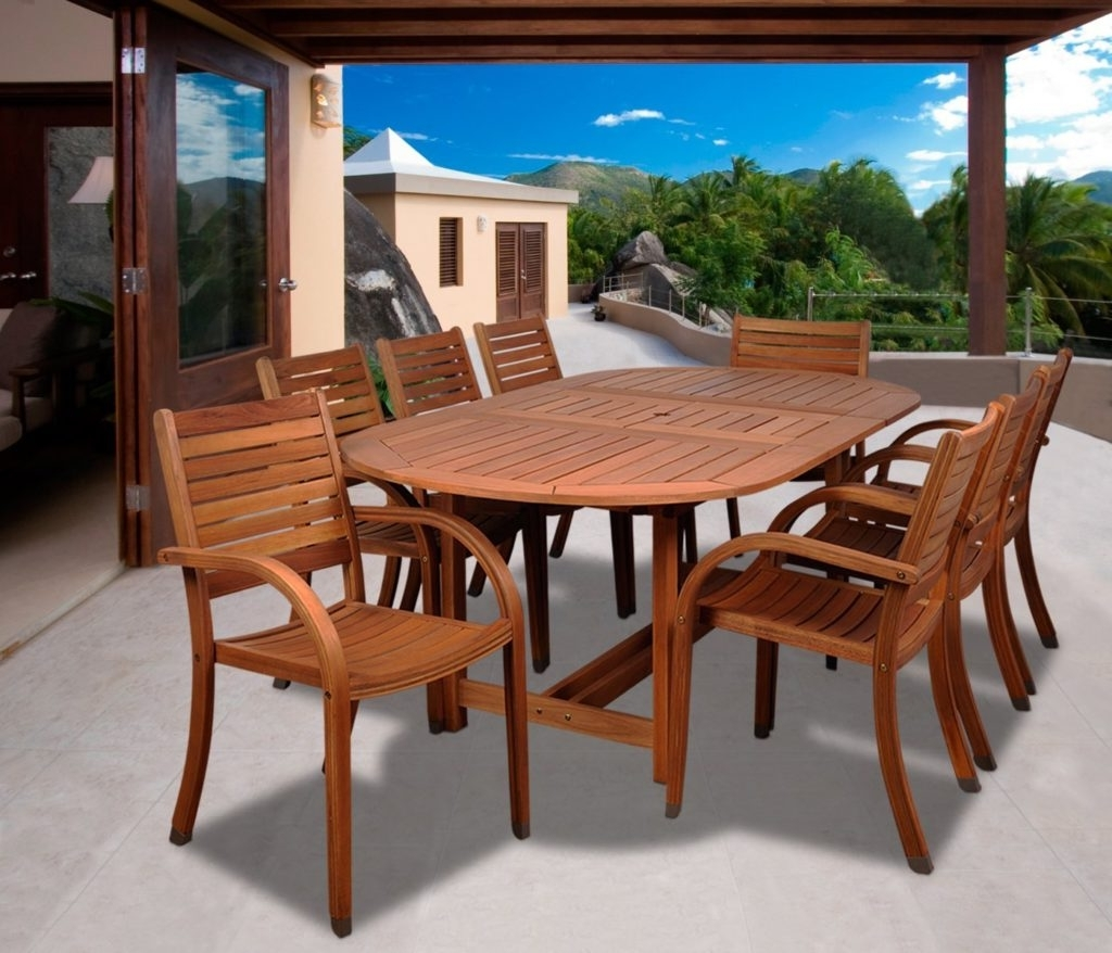 Most Current Craftsman 7 Piece Rectangle Extension Dining Sets With Arm & Side Chairs Throughout Best Eucalyptus Hardwood Furniture & Patio Sets In 2018 – Teak Patio (View 8 of 25)