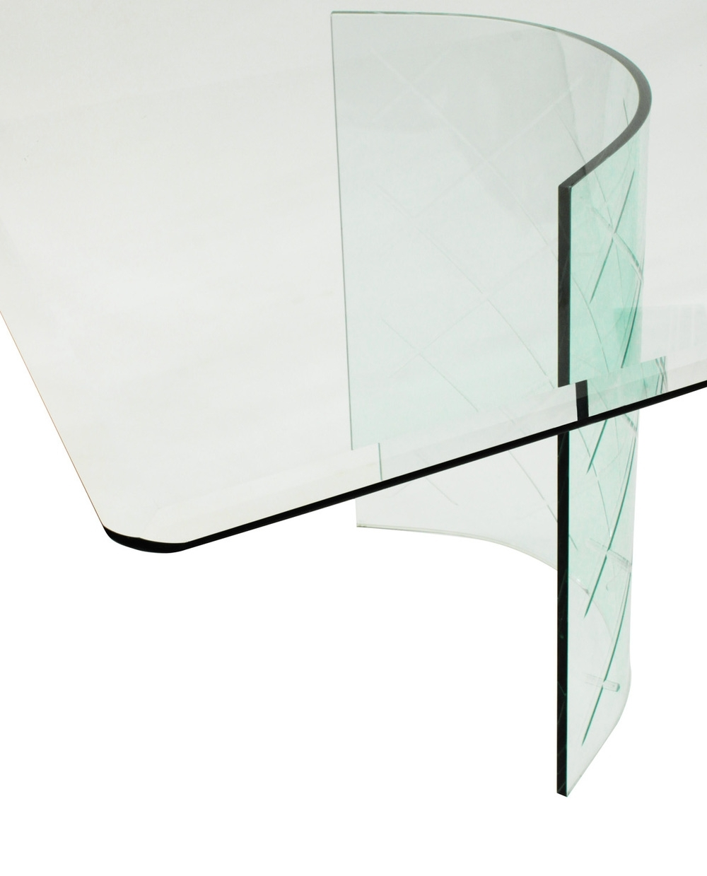 Most Current Curved Glass Dining Tables Regarding Glass Dining Table With Curved Etches Bases 1950S — Lobel Modern Nyc (View 14 of 25)