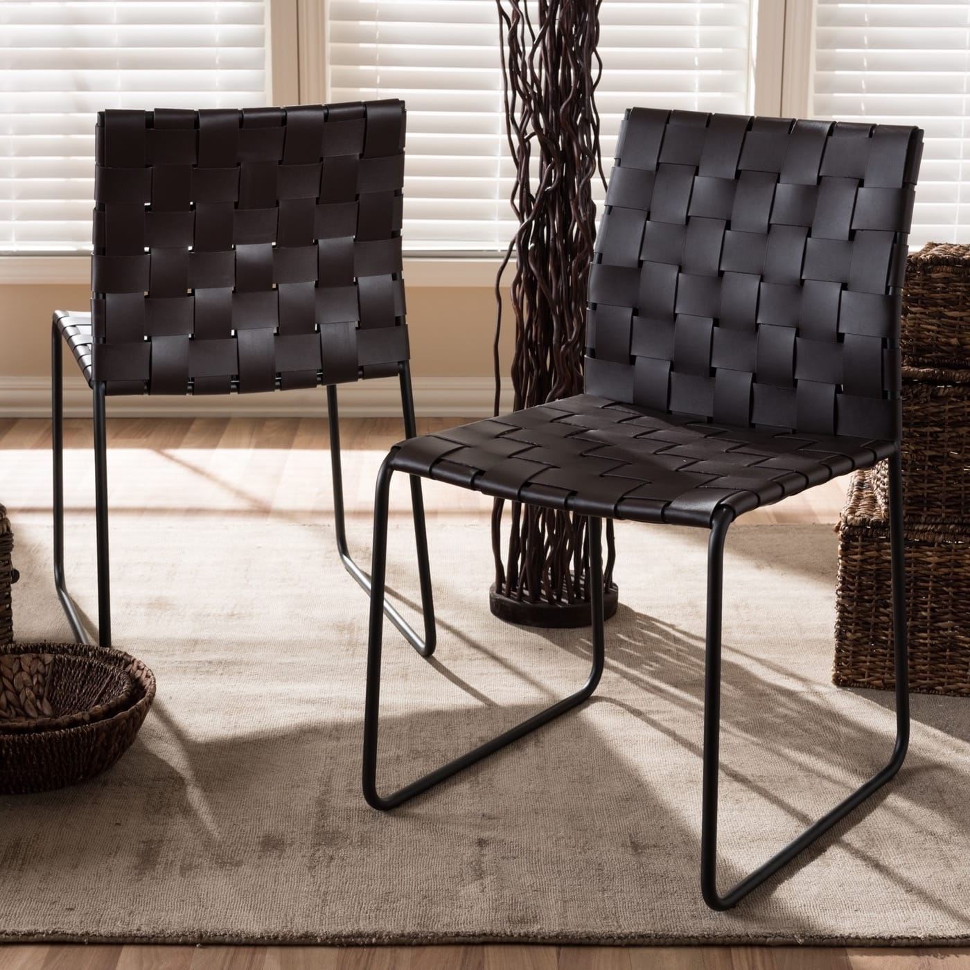 Most Current Dark Brown Leather Dining Chairs Regarding Baxton Studio Alc 1933 Dark Brown Dc – Fairfield Modern And (View 21 of 25)