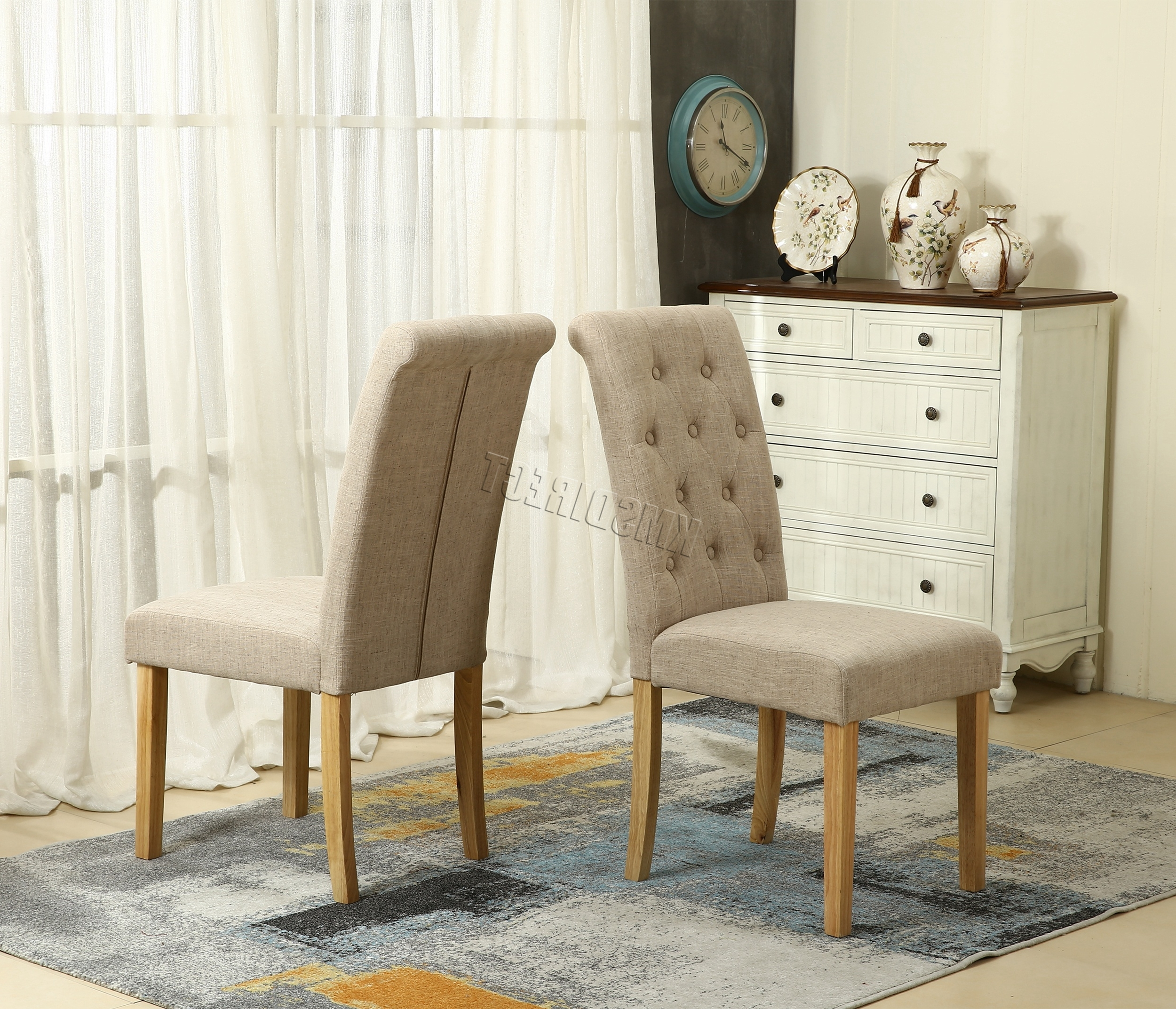 Most Current Details About Westwood Linen Fabric Dining Chairs Scroll High Back Office  Living Room Dcf02 Inside Fabric Dining Chairs (View 2 of 25)