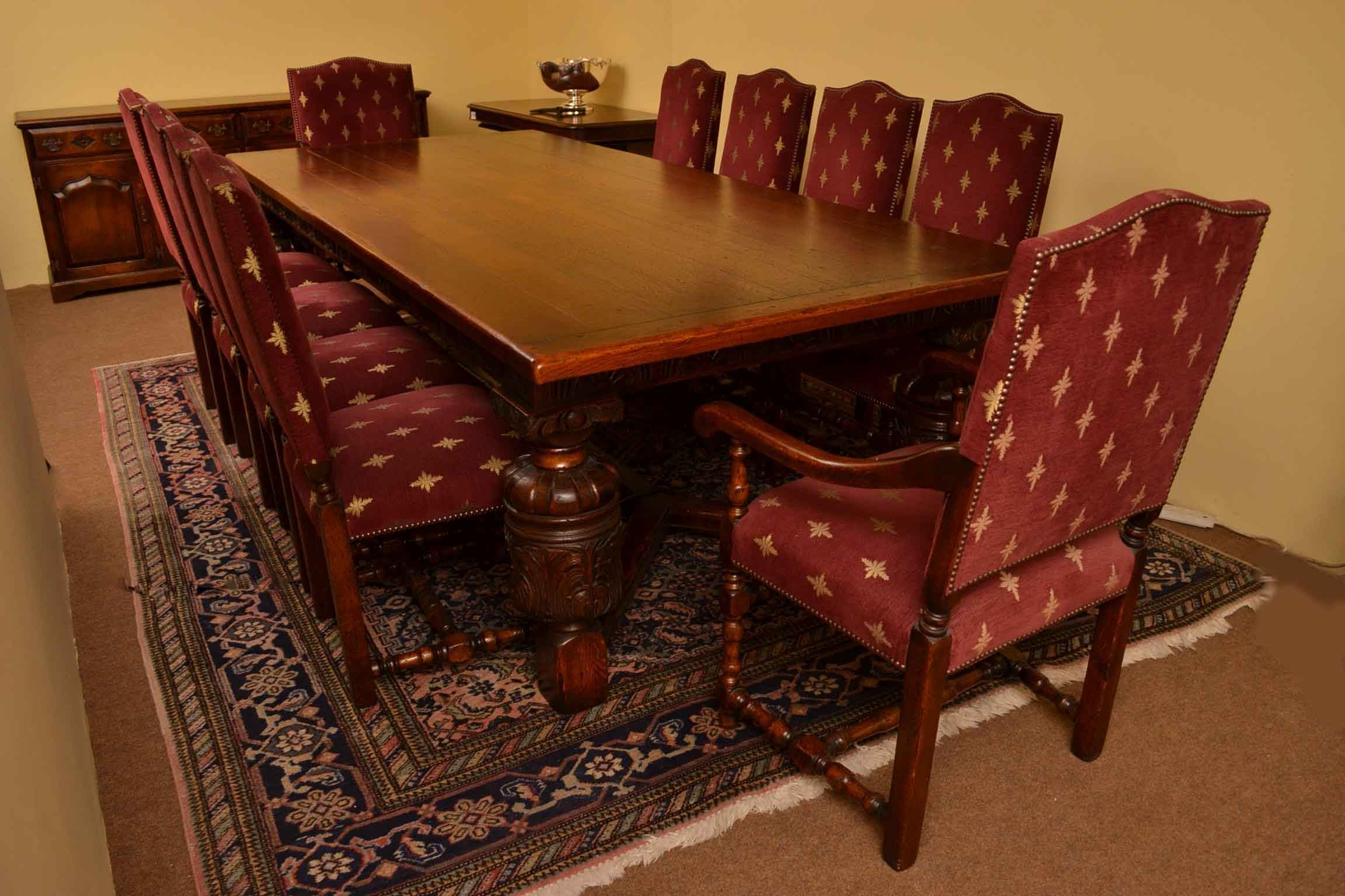 Most Current Dining Table And 10 Chairs Intended For Harrods Oak Dining Room Suite Refectory Table 10 Chairs (View 15 of 25)