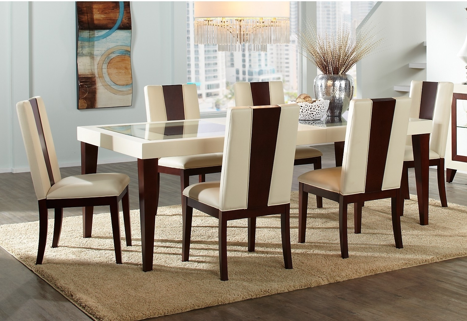 Most Current Dining Tables: Astounding Dining Table Set Canada Round Dining Table With Leon 7 Piece Dining Sets (View 16 of 25)