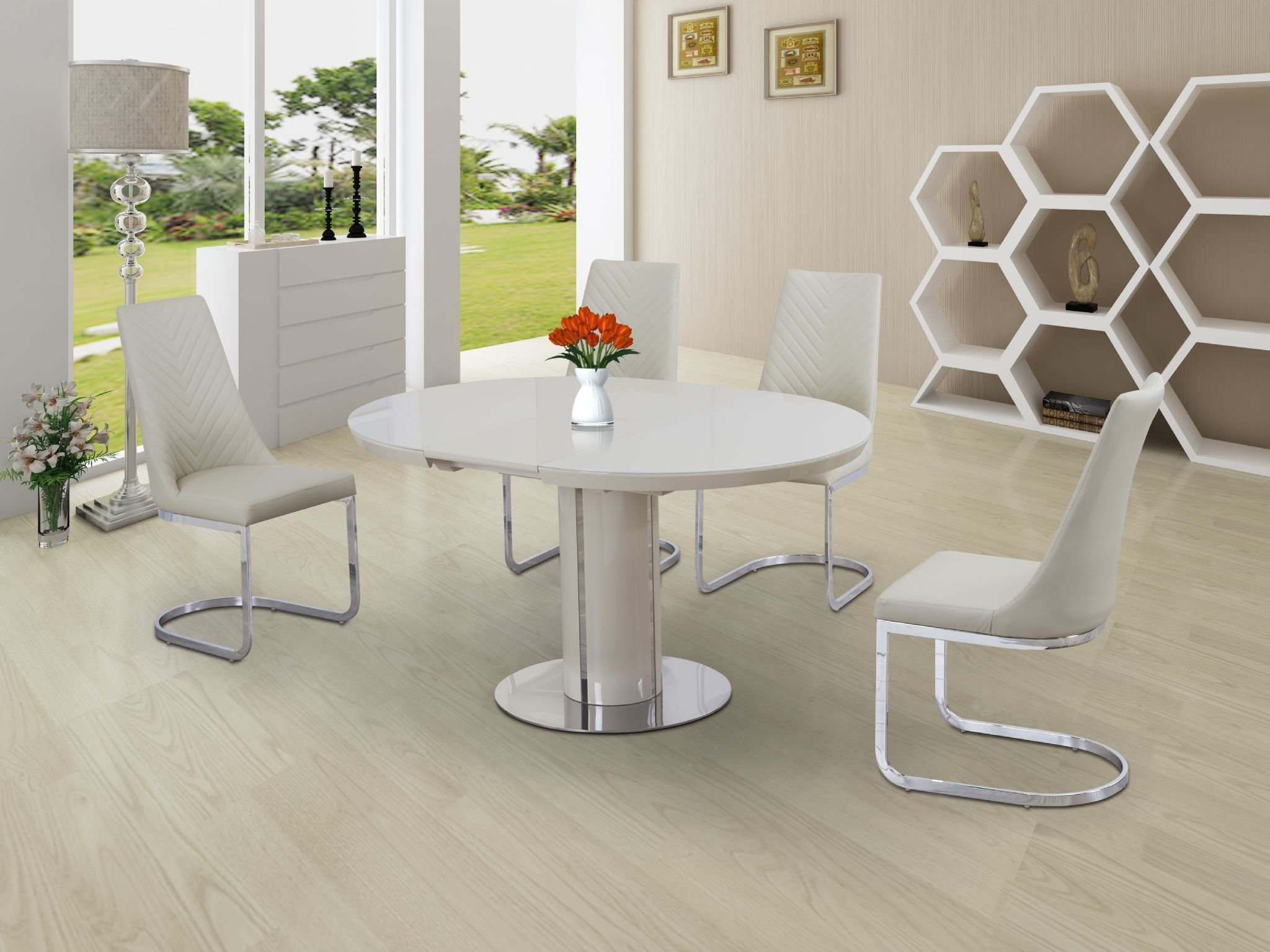 Most Current Eclipse Round / Oval Gloss & Glass Extending 110 To 145 Cm Dining Table –  Cream In Glass Extending Dining Tables (View 17 of 25)