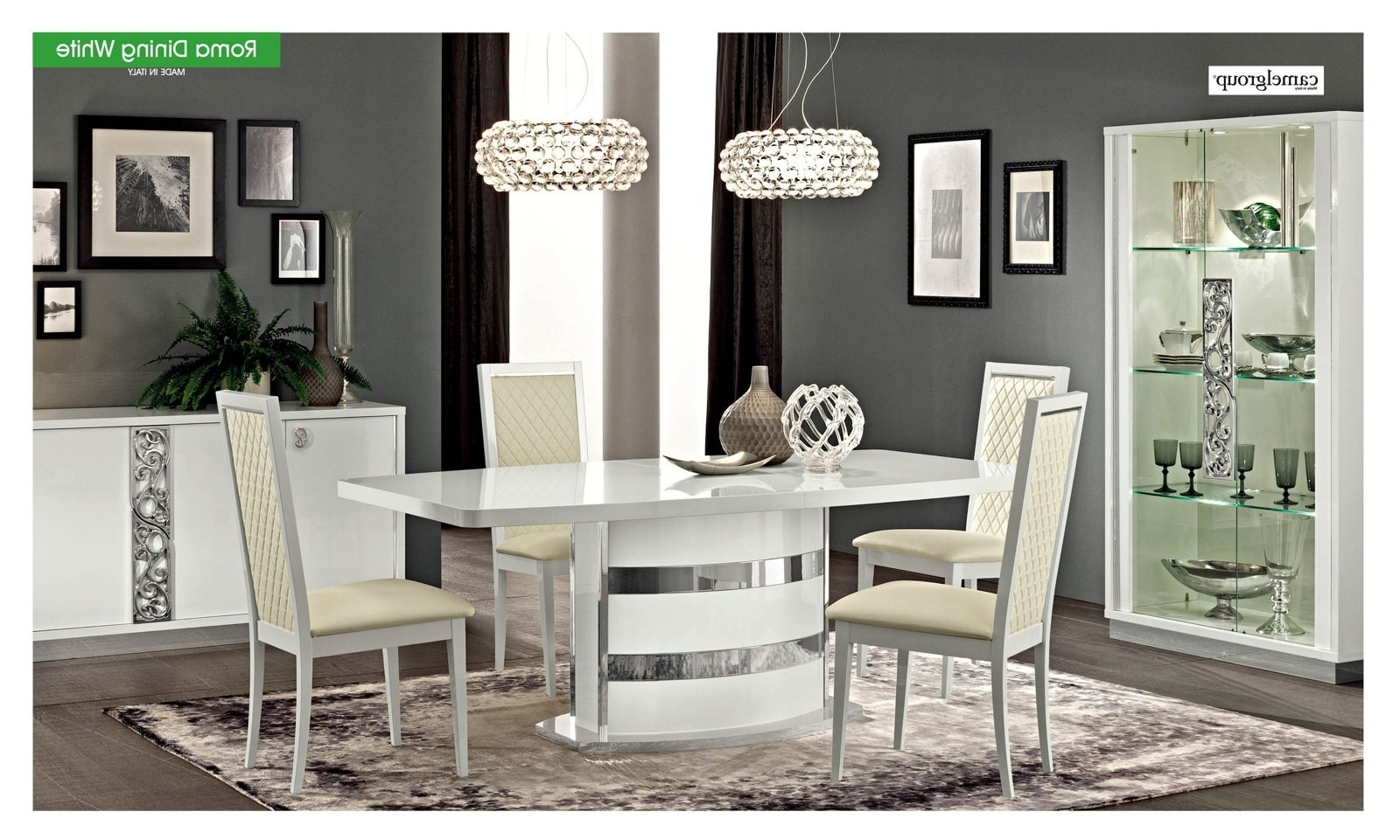 Most Current Esf Esf Furniture Roma 7Pcs Dining Room Set In White – Roma With Roma Dining Tables (View 9 of 25)