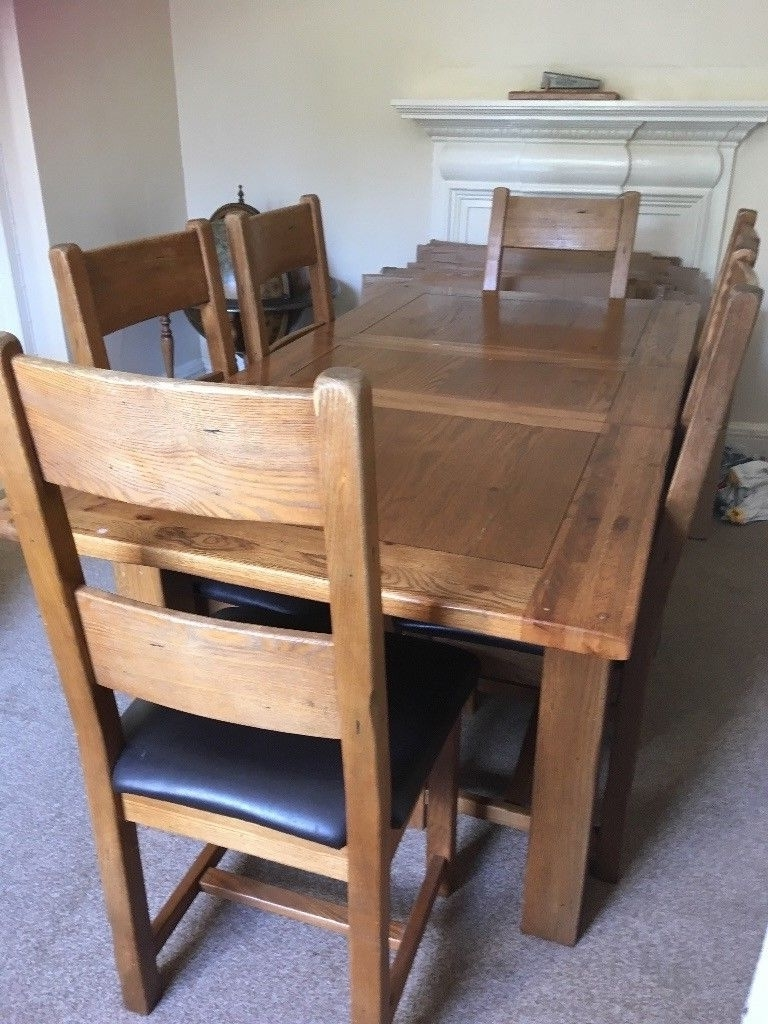 Most Current Extendable Dining Table And 6 Chairs Within Solid Oak Extendable Dining Table And 6 Chairs (View 25 of 25)