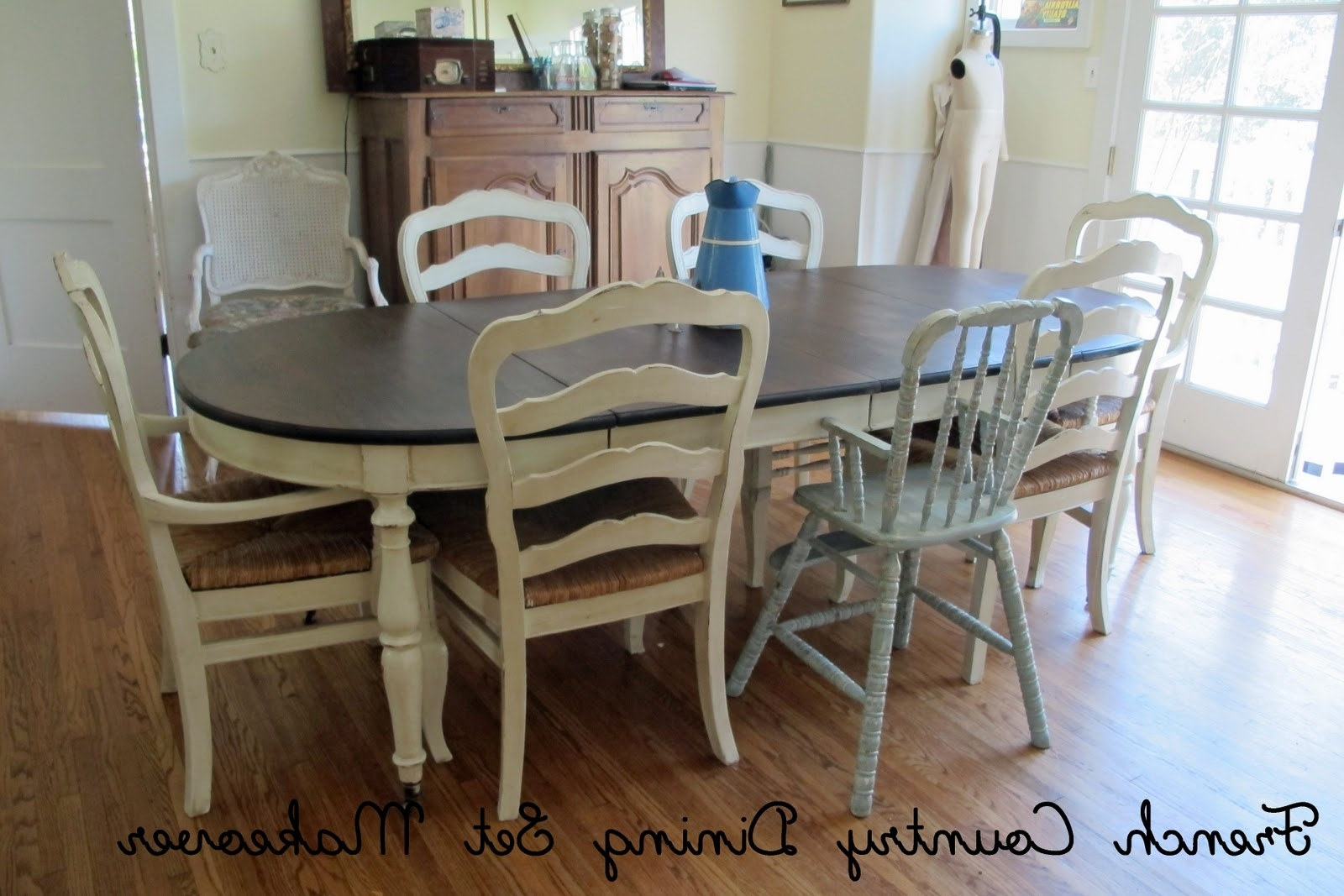Most Current French Country Glazed Creamy Painted Dining Set : Mini Tutorial Pertaining To Painted Dining Tables (View 13 of 25)