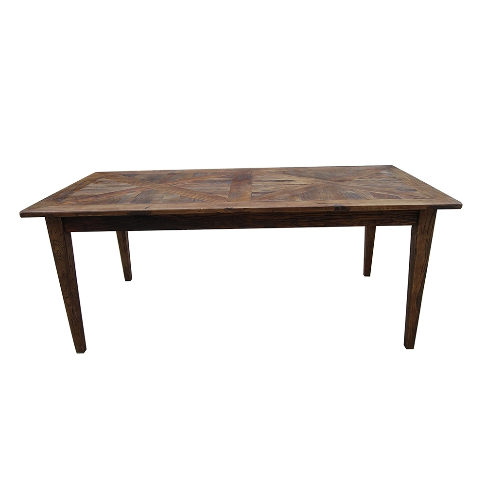 Most Current French Dining Table Recycled Elm Parquet Top  (View 11 of 25)